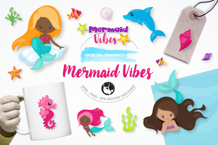 mermaid vibes graphics and illustrations