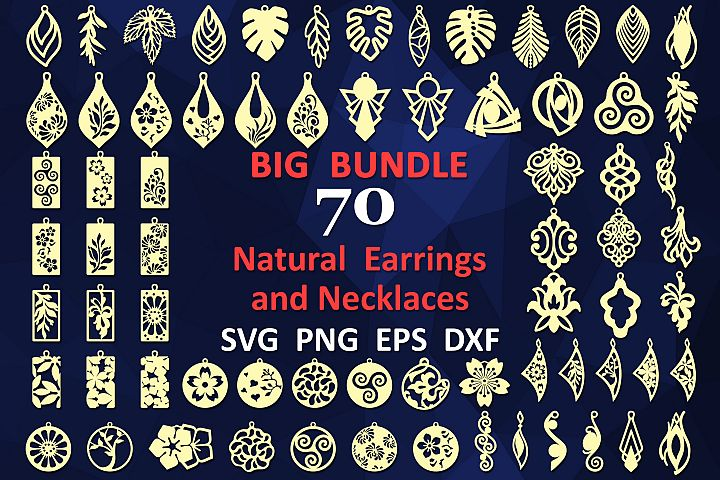 70 Leather earring svg bundle Wood necklace template svg
