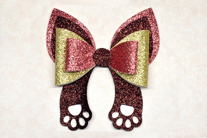 Cat hair bow template SVG, DIY leather bow template