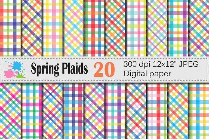 Bright spring plaid digital paper, Colorful plaid background