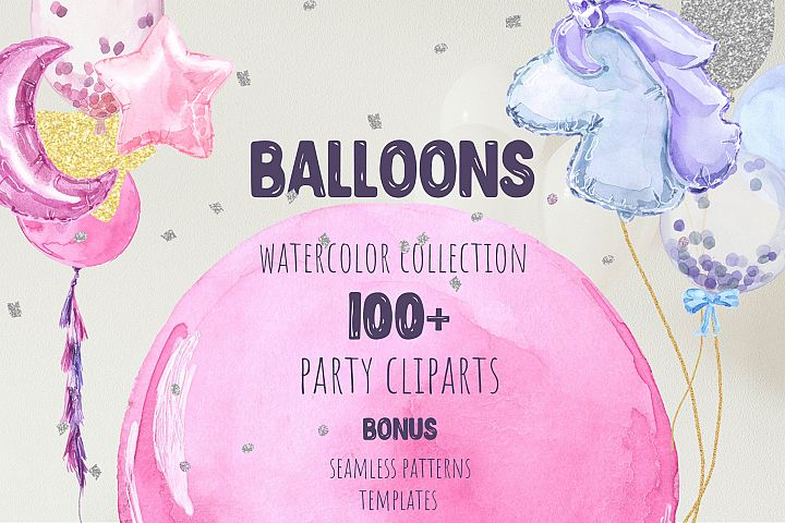 Party Balloons Watercolor Collection