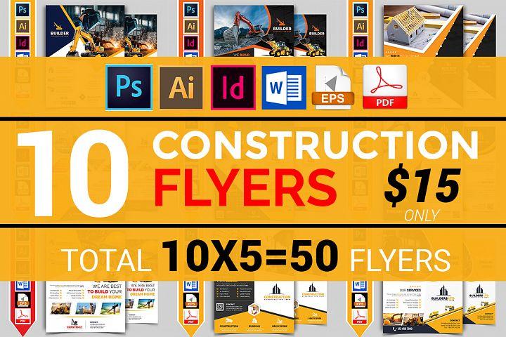 10 Construction Flyers Bundle