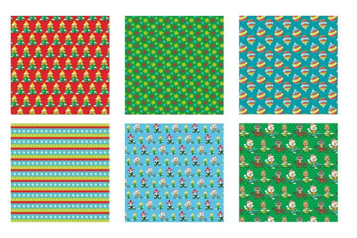 Christmas bicycles Pattern collection, vector ai, example image 3