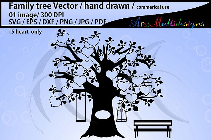 family tree silhouette SVG, EPS, Dxf, Png, Pdf, Jpg / 15 H