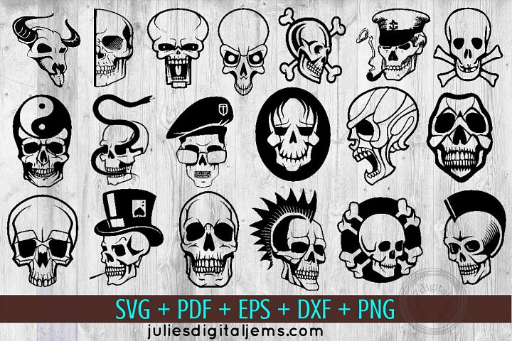 Skull svg Halloween bundle of 19 by Julies Homemade Jems