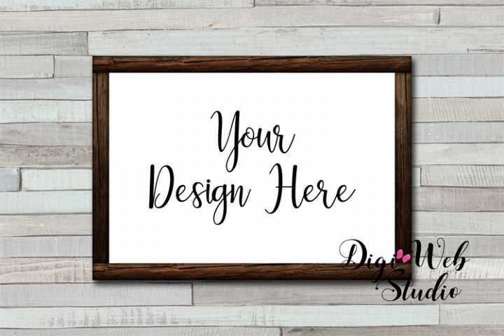 Wood Sign Mockup - Wood Frame on Colored Wood Shiplap