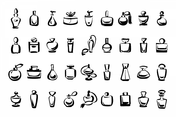 Perfume fragrance bottle icons set
