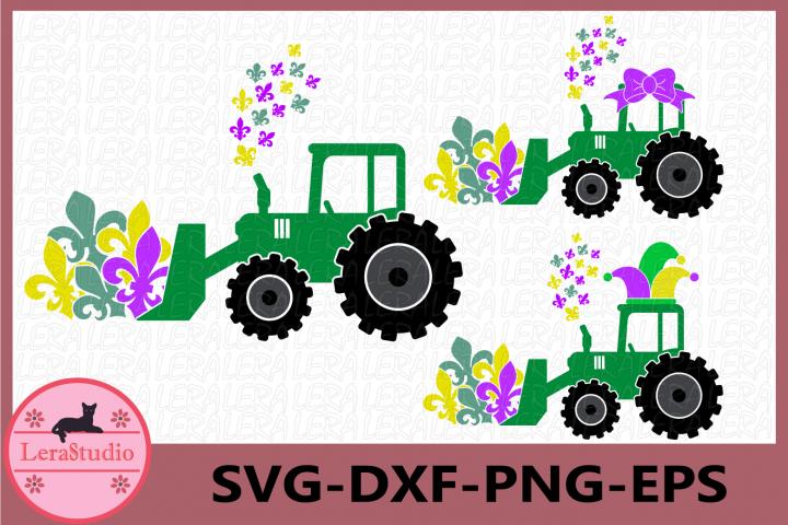 Farm Tractor fleur de lis Svg, Mardi Gras Farm Tractor SVG