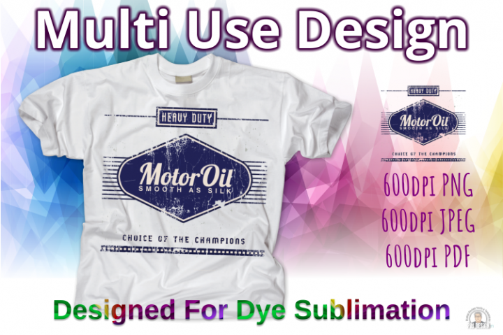 Old Oil Can Style Sublimation Design - Blue