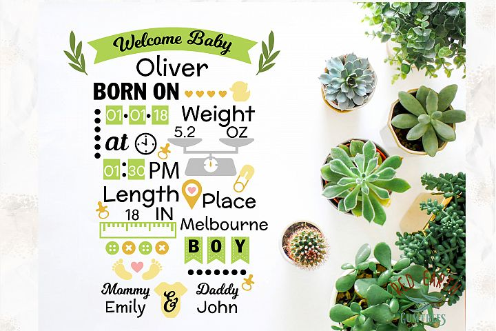 Baby boy announcement chart template in SVG,DXF,PNG,EPS,PDF