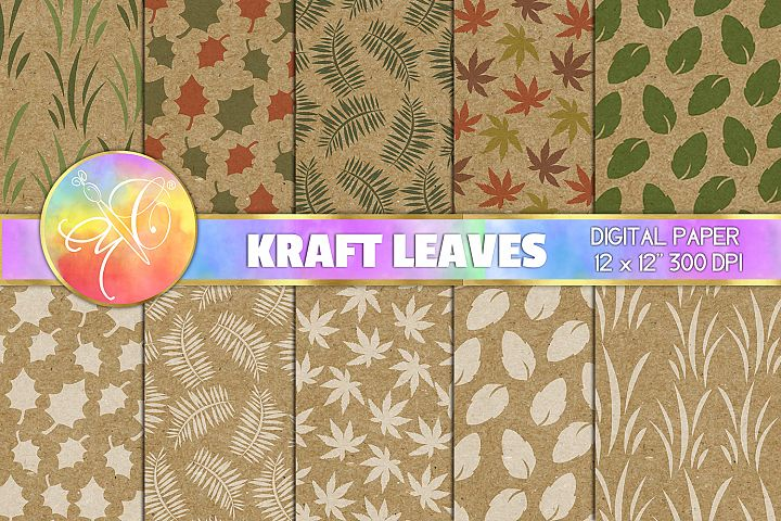 Leaves Digital Paper, Kraft Paper Texture, Background