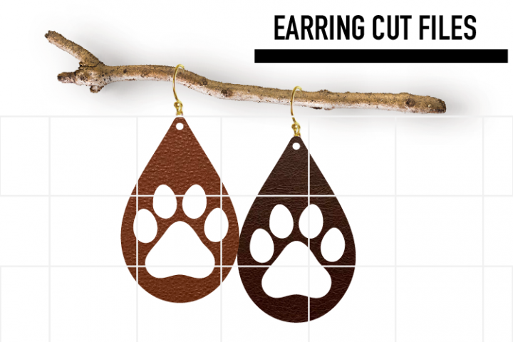 Dog Paw Earrings Svg / Leather / Faux / Wood / Laser Cut