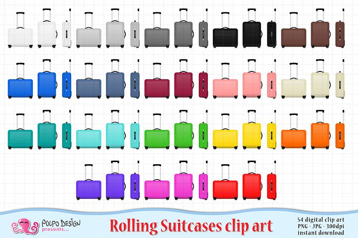 Colorful Rolling Suitcase clipart