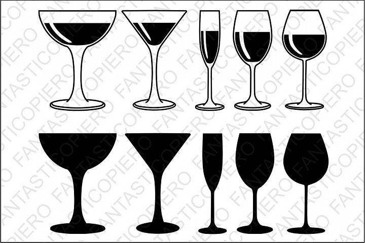 Red, white wine Glasses SVG files for Silhouette and Cricut.