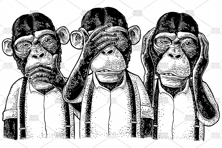 Three wise monkeys with hand on ears, eyes, mouth engraving