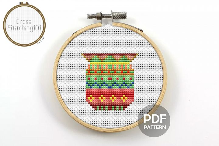 Flower Pot Cross Stitch Pattern - Instant Download PDF