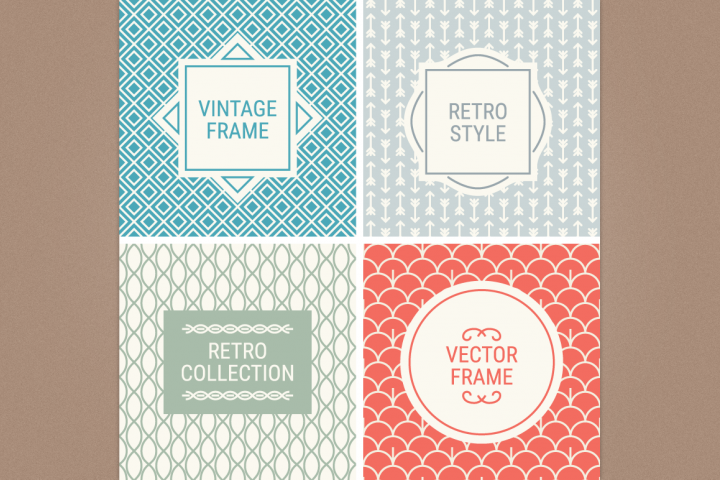 Mono Line Frames and Patterns - Set 4