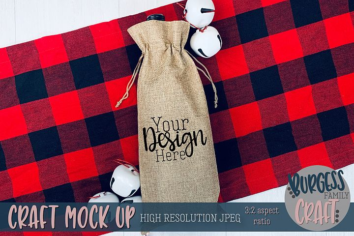 Plaid wine bag Craft mock up |High Res JPEG