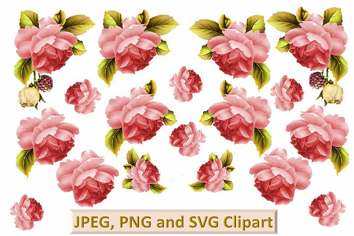 Red Roses CLipart and printable kit PNG, SVG, JPEG CU