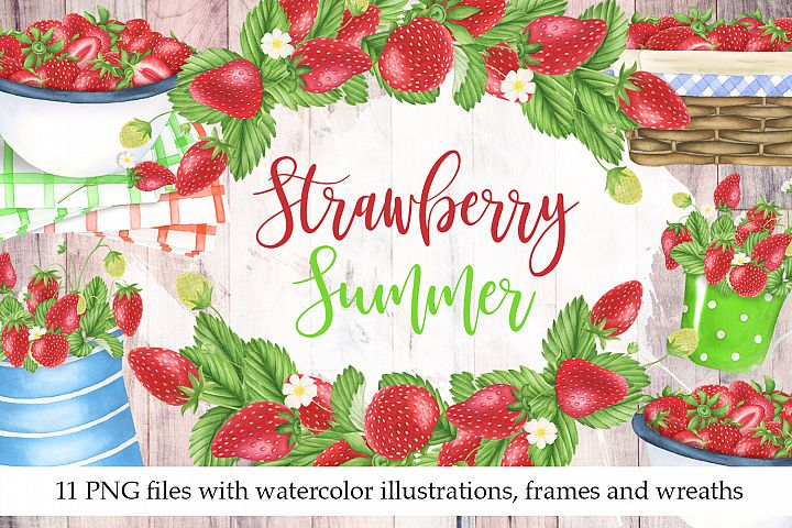 Watercolor Strawberry Clipart