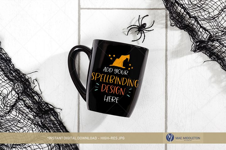 Halloween Mockup - Black mug and spider!