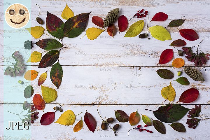 Fall acorns, leaves, cones frame on the white painted table
