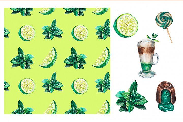 Watercolor mint delicious set