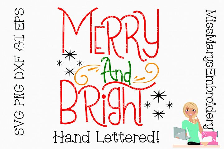 Merry and Bright Saying SVG Cutting File PNG DXF AI EPS