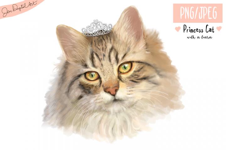 Lifelike Princess Cat with a Tiara   PNG/JPEG illustration
