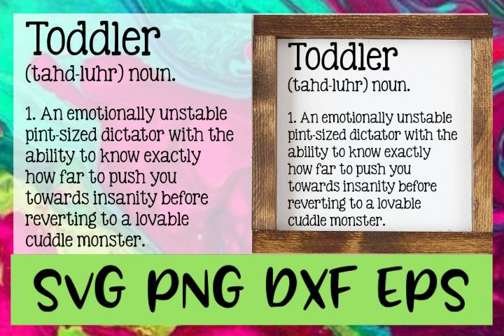 Toddler Definition SVG PNG DXF & EPS Design & Cut Files