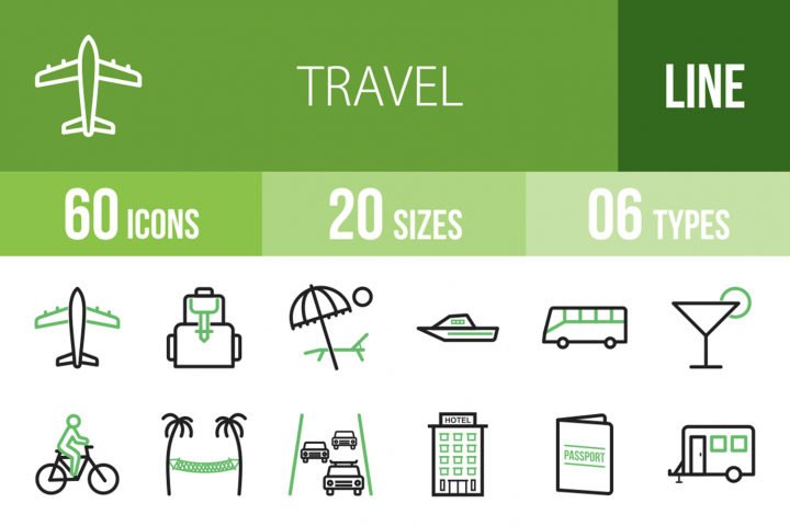 60 Travel Line Green & Black Icons