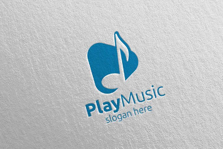Abstract Music Logo with Note and Play Concept 5