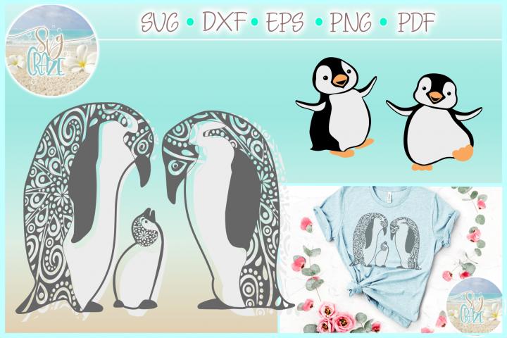 Penguin Mandala Zentangle Svg Dxf Eps Png Pdf Files