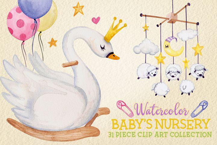 Watercolor Baby Nursery Clip Art Set