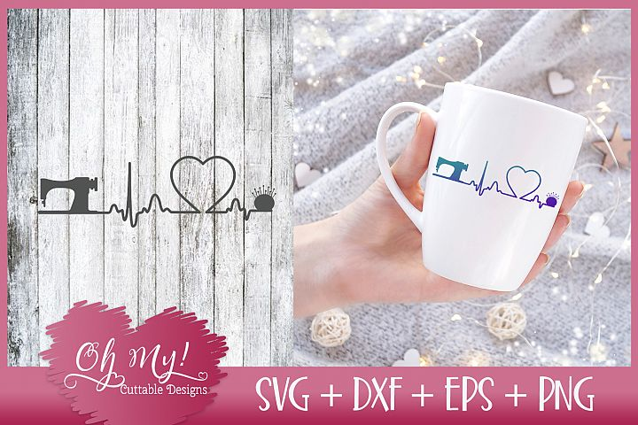 Heartbeat EKG Sewing - SVG DXF EPS PNG
