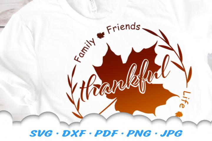 Thankful Thanksgiving Leaf SVG DXF Cut Files