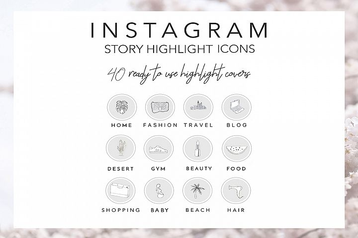 40 Instagram Story Highlights Icons in Grey, Hand Drawn