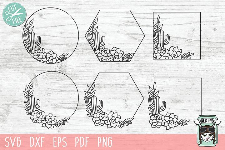 Cactus Wreath svg file, Cactus Frame, Succulent, Monogram