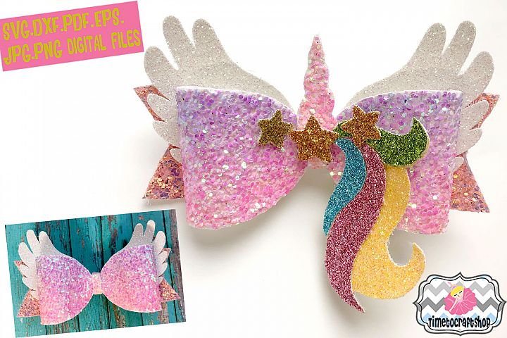 Magical Unicorn Angel Wings Hair Bow Template