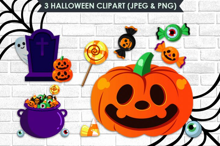 3 Halloween Cliparts, Grave, Pumpkin, Candy JPEG & PNG