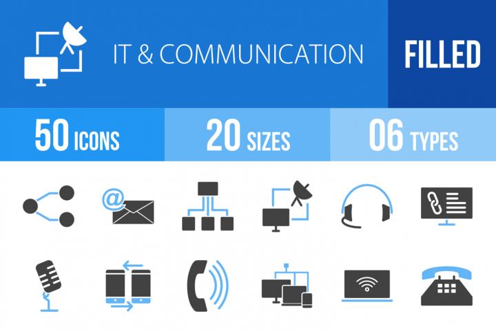 50 IT & Communication Filled Blue & Black Icons