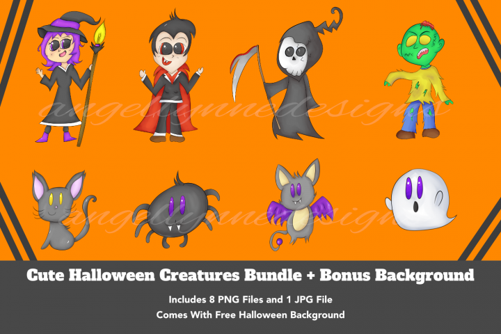 Cute Halloween Creatures Bundle