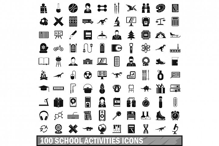 100 school activities icons set, simple style