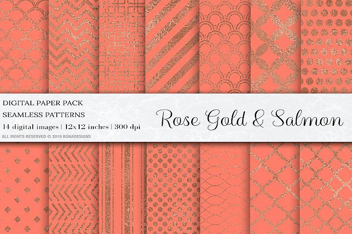 Rose Gold Salmon Digital Papers, Rose Gold Patterns, Wedding
