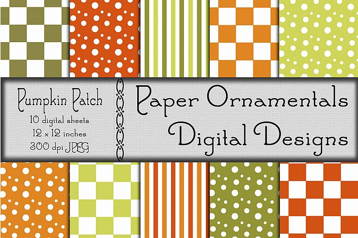 Pumpkin Patch Digital Paper For Crafts & Background