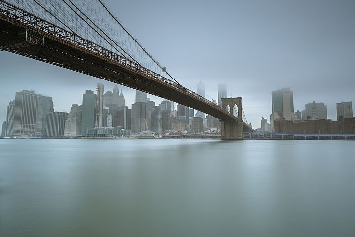 Financial District and Brooklyn bridge from East River