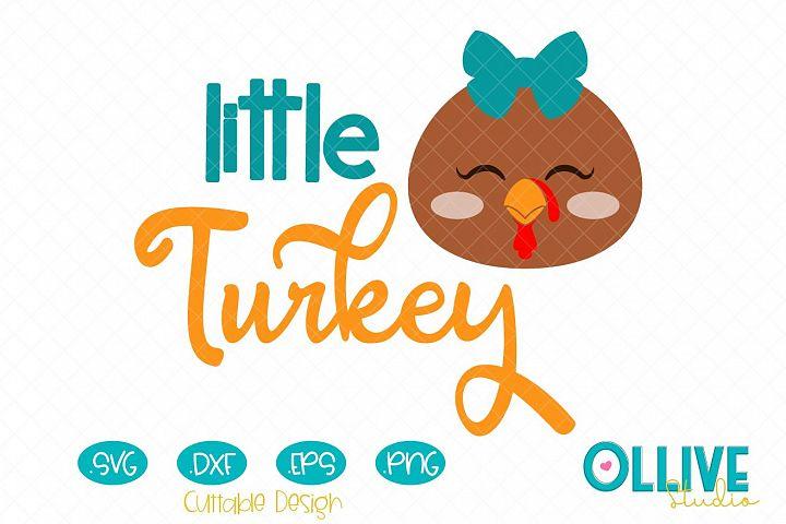 Svg Thanksgiving Day Little Turkey Girl