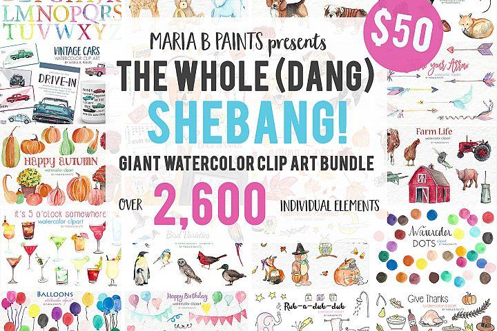 2,600 in 1 Watercolor Clip Art Bundle