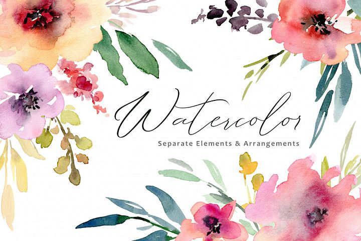 Watercolor flowers, bouquets, frames PNG collection
