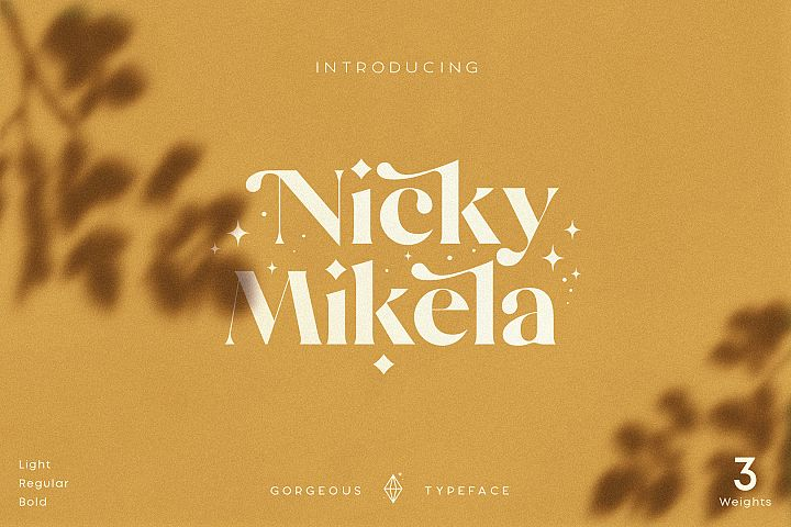 Mikela - Three Weights Gorgeous Typefaces